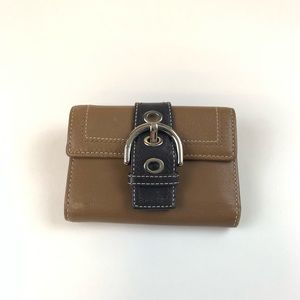 Coach Small Trifold Wallet Brown Leather
